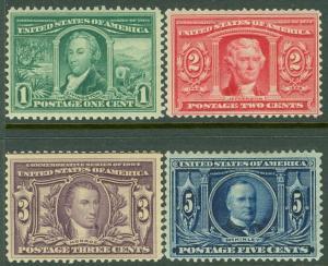 EDW1949SELL : USA 1904 Scott #323-26 Mint Original Gum. All Very Fresh. Cat $195