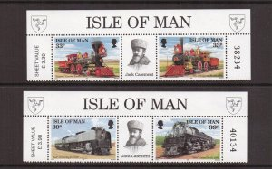 Isle of Man  #514-517  MNH 1992  railroad in pairs