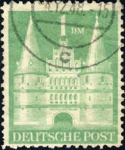 ALLEMAGNE / GERMANY Bizone 1948 Mi.97aYID(97.Iwg) 1DM T1 p.11-11-1/2 VF Used (b)