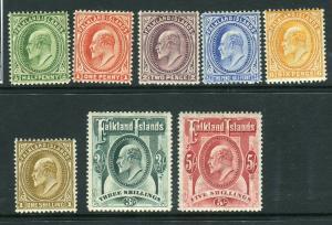 FALKLAND ISLANDS-1904-12  A mounted mint set to 5/- Sg 43-50