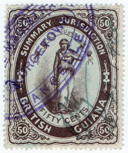 (I.B) British Guiana Revenue : Summary Jurisdiction 50c (1883)