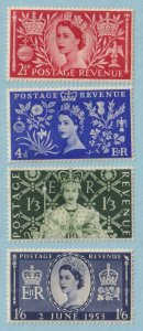 GREAT BRITAIN 313 - 216  MINT NEVER HINGED OG ** CORONATION - TONE SPOTS - V261