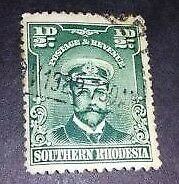 SOUTHERN RHODESIA 1924 ½d BLUE-GREEN USED