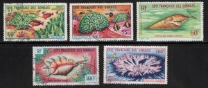Somali Coast Scott C26-C30 Used shell and Coral Airmail stamp set