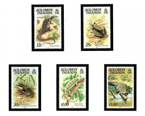 Solomon Is 403/406/406/410/412 MNH from 1979-83 set with new dates