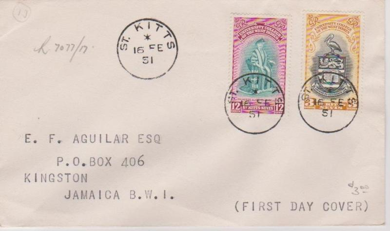 St Kitts 1951 University College First Day Cover