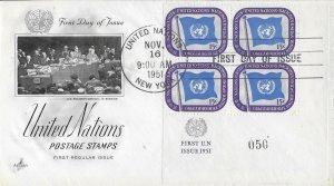 United Nations, New York #7, Art Craft, inscription block of 4, plate #