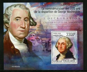TOGO 2019  220th MEMORIAL  ANNIVERSARY OF GEO WASHINGTON  SOUVENIR SHEET MINT NH