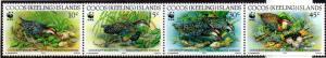 COCOS ISLAND 262 MH STRIP/4 SCV $5.25 BIN $2.25 BIRDS, WWF