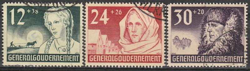 Stamp Germany Poland General Gov't Mi 056-58 Sc NB5-7 1940 WWII Reich War Used