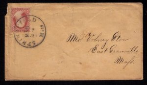 US Scott #11 Cover Springfield Mass. - to East Granville,Vermont (1856): F-VF