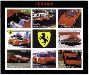 A Cinderella Issue: Ferrari Automobile Pair Of Mini-Sheets Of Turkmenistan
