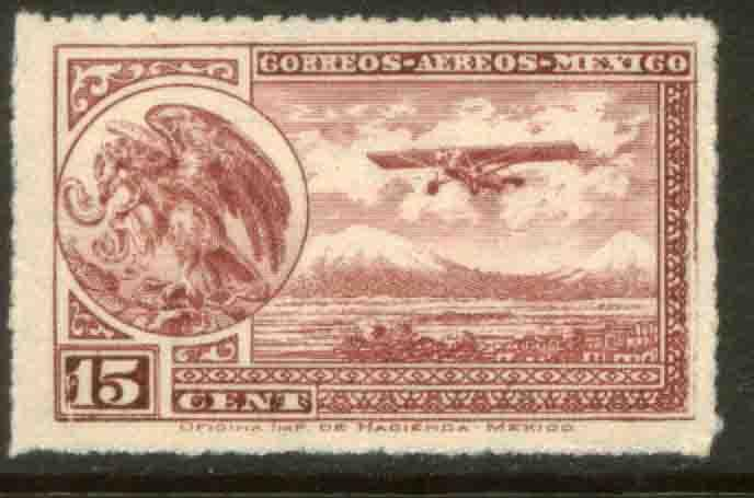 MEXICO C22 15cts Early Air Mail Plane and coat of arms MNH