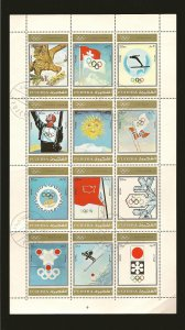 Fujeira Sheet of 12 Olympic Stamps 1972 CTO PLEASE READ NOTE