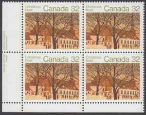 Canada - #1004 Christmas Plate Block - MNH