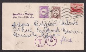 #C39 on cover to BELGIUM w outdated Belgian dues J26 & J33 Most interesting!