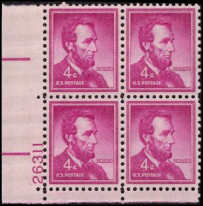 US #1036a ABRAHAM LINCOLN MNH LL PLATE BLOCK #26311 DURLAND .50¢