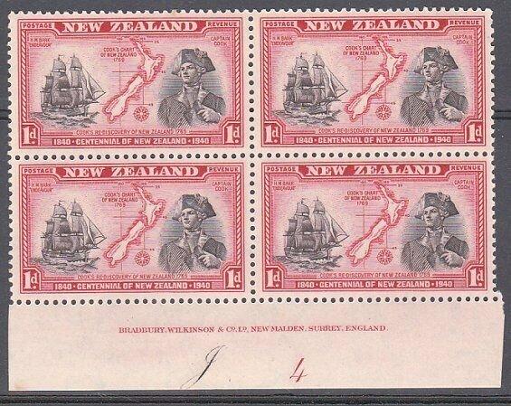 NEW ZEALAND 1940 Centenary 1d Captain Cook plate block MNH CP cat NZ$40.....K486