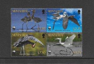 BIRDS - MONTSERRAT #1253  EGRETS  WWF  MNH