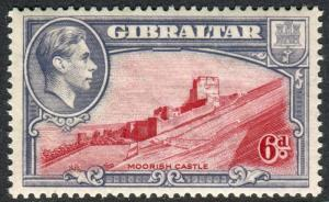 GIBRALTAR-1938 6d Carmine & Grey Violet Perf 13½ unmounted mint example Sg 126