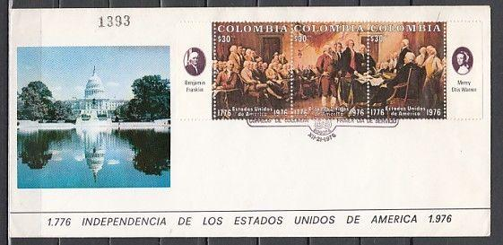 Colombia, Scott cat. 846 A-C. American Bicentennial issue. First day cover.