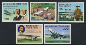 IVORY COAST #434-38 IMPERF MINT, VF, NH - PRICED AT 1/2 CATALOG