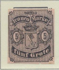 Bremen (German State) Stamp Scott #2, Unused Hinged, Mint No Gum, Four Margin...