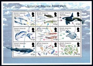 [66845] British Antarctic Territory 2014 Marine Life Orca Whale Fish Sheet MNH