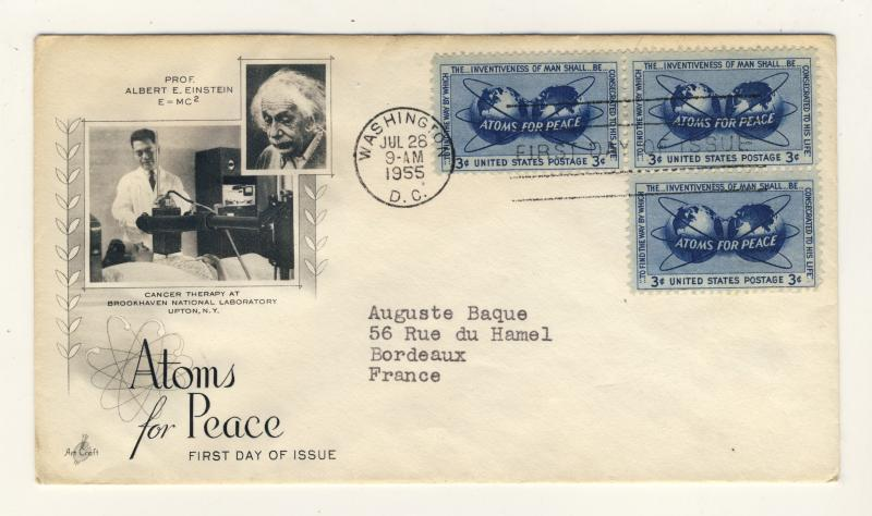 US - 1955 - Scott 1070 FDC - Atoms for Peace - block of 3