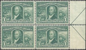 323 Mint,OG,NH... Arrow/Centerline Block of 4... SCV $240.00