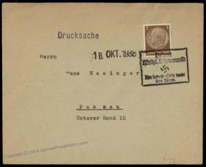3rd Reich Germany Hoeritz Sudetenland 1938 Annexation Provisional Cover 70180