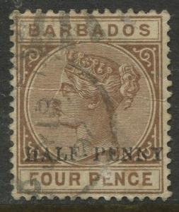 Barbados - Scott #69 -  QV - Overprint -1892 - Used - Single 1/2p on a 4p Stamp