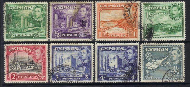 CYPRUS 1938-1951 DEFINS 8 USED VALUES