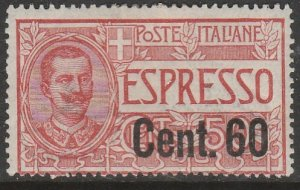 Italy E11, SURCHARGED SPECIAL DELIVERY, UNUSED, H OG. VF. (156)