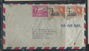 GOLD COAST (P2708B)  1954  QEII  3D+1/-X2  KUMASI TO USA