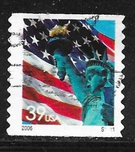 USA 3982: 39c Flag and Liberty, plate no single, used, VF