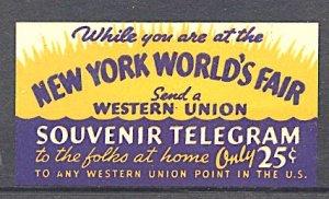 USA New York World's Fair 1939/40 Western Union Souvenir Telegram MNH