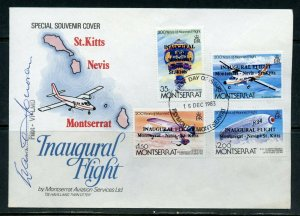 MONTSERRAT INAUGURAL FLIGHT COVER TO NEVIS & ST.KITTS AUTOGRAPHED BY PILOT