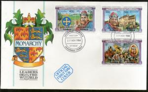 Tuvalu NANUMAGA 1984 British Monarchs King Queen Coat of Arms Sc 26-28 FDC #F169