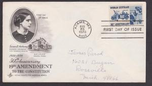 1406 Woman Suffrage ArtCraft FDC with hand written address