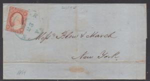 **US 19th Century Cover Scott #11A, Type II, Norfolk, VA 9/23/1854,  Blue CDS