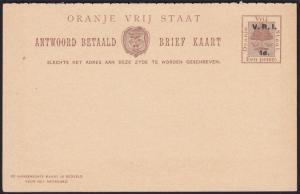 ORANGE FREE STATE 1d + 1d reply cards oveprinted VRI / 1d - fine unused....69675