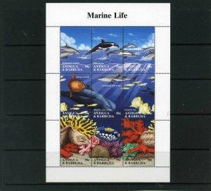 ANTIGUA & BARBUDA 1994 Sc#1806 FISH & MARINE LIFE SHEET OF 9 STAMPS MNH