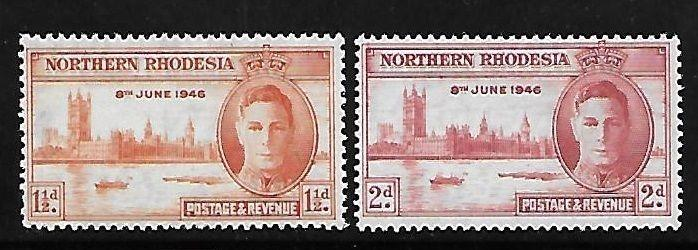 Northern Rhodesia 1946 Peace issue Omnibus MNH A336
