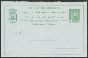 BELGIAN CONGO 5c postcard with 10c reply card attached fine unused.........51246