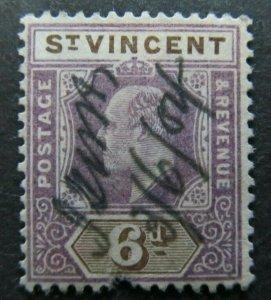 British Colonies St. Vincent SG. 81 £42 1902 PEN CANCEL A5956