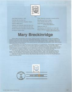 US 2942 MARY BRECKINRIDGE SOUVENIR PAGE
