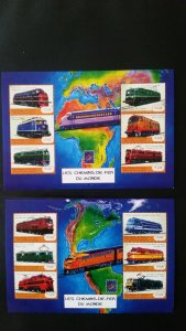 Trains and locomotives - Guinea 2001. - 2x SS complete ** MNH