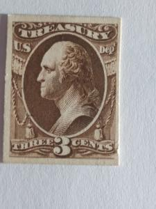 SCOTT # O74P CARD PROOF 3 CENT TREASURY NOTE GREAT COLOR AND GREAT CENTERING !!