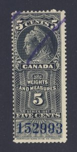 Canada Revenue Weights & Measures Stamp; #FWM45-5c Used. Guide Value = $80.00